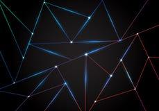 Polygonal modell för abstrakt teknologi och svarta triangellaser-linjer med belysning på mörk bakgrund Geometrisk låg polygon vektor illustrationer