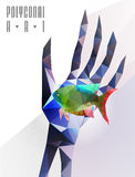 Polygonal modern elements. Abstract polygonal hand . Geometric hipster illustration. Polygonal poster Stock Photography