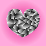 Polygonal monochrome heart illustration. Black and white heart icon on pink background square image. Valentine Day card or banner template. Low Poly Heart with Vector Illustration