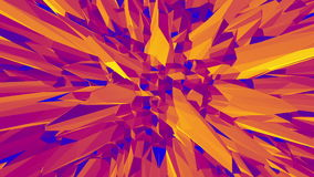 Polygonal mosaic background with vertex, spikes in cartoon modern 3D design. Abstract transforming orange low poly stock footage