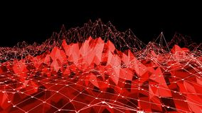 Polygonal mosaic background with vertex, spikes in cartoon modern 3D design. Abstract transforming red low poly surface stock video footage