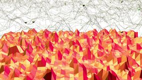 Polygonal mosaic background with vertex, spikes in cartoon modern 3D design. Abstract transforming red low poly surface stock footage