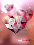 Polygonal mosaic hearts. Vector illustration. Blurred background with lights. Valentine's day abstract background. Invitation or greeting card template Royalty Free Stock Image