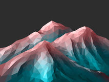 Polygonal Mountain Rose Quartz Gradient. Low-Poly Mountain Landscape. Gradient Rose Quartz - Limpet Shell. Low poly design. Abstract polygonal illustration vector illustration