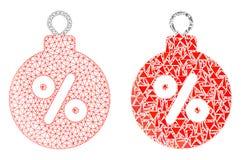Polygonal nätverk Mesh Christmas Discount Ball och mosaisk symbol royaltyfri illustrationer