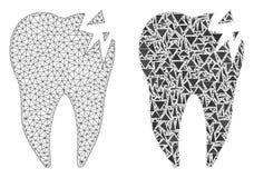 Polygonal nätverk Mesh Cracked Tooth och mosaisk symbol stock illustrationer