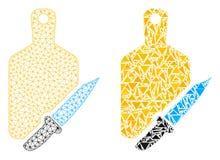 Polygonal nätverk Mesh Cutting Board och kniv- och mosaiksymbol royaltyfri illustrationer