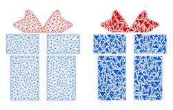 Polygonal nätverk Mesh Gift och mosaisk symbol royaltyfri illustrationer