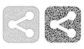 Polygonal nätverk Mesh Share och mosaisk symbol vektor illustrationer