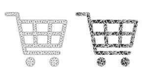 Polygonal nätverk Mesh Shopping Cart och mosaisk symbol stock illustrationer