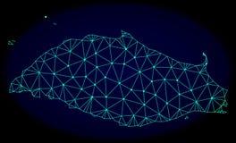 Polygonal nätverk Mesh Vector Abstract Map av den Tortuga ön stock illustrationer
