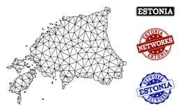 Polygonal nätverk Mesh Vector Map av Estland och nätverksGrungestämplar royaltyfri illustrationer