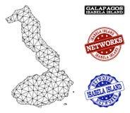 Polygonal nätverk Mesh Vector Map av Galapagos - Isabela Island och nätverksGrungestämplar royaltyfri illustrationer