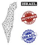 Polygonal nätverk Mesh Vector Map av Israel och nätverksGrungestämplar royaltyfri illustrationer