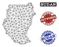 Polygonal nätverk Mesh Vector Map av Sudan och nätverksGrungestämplar stock illustrationer