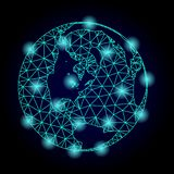 Polygonal Network Mesh Map of Global World with Light Spots royalty free illustration