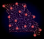 Polygonal Network Mesh Map of Missouri State with Red Light Spots royalty free stock photos