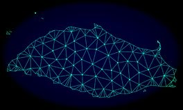 Polygonal Network Mesh Vector Abstract Map of Tortuga Island stock illustration