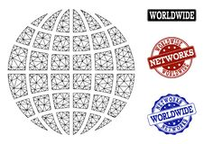 Polygonal Network Mesh Vector Globe and Network Grunge Stamps royalty free illustration