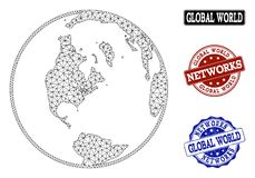 Polygonal Network Mesh Vector Map of Global World and Network Grunge Stamps stock illustration