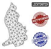 Polygonal Network Mesh Vector Map of Liechtenstein and Network Grunge Stamps vector illustration