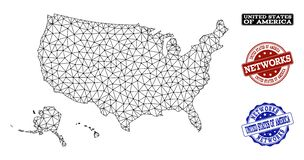 Polygonal Network Mesh Vector Map of USA Territories and Network Grunge Stamps royalty free illustration