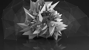 Polygonal network shape abstract 3D render Royalty Free Stock Photos