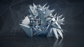 Polygonal network shape abstract 3D render Royalty Free Stock Photo