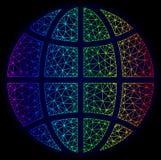 Polygonal Network Spectrum Mesh Vector Globe stock illustration