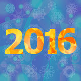 Polygonal New Year Numbers. On Blue Snow Flake Background Royalty Free Stock Images