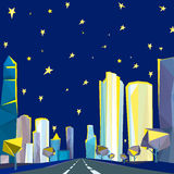 01 Polygonal night cityscape. Vector illustration of beautiful night modern polygonal cityscape with scyscrapers Stock Image