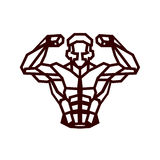 Polygonal outline vector bodybuilder logo royalty free illustration
