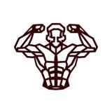 Polygonal outline vector bodybuilder logo Stock Photos