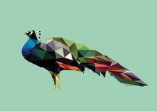 Polygonal påfågelMinimalist Arkivfoton