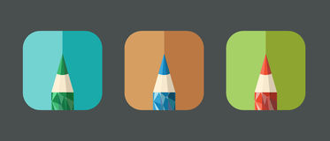 Polygonal Pencil Icons with geometrical figures Royalty Free Stock Photos