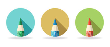 Polygonal Pencil Icons with shadow Royalty Free Stock Image