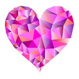 Polygonal pink heart vector. Isolated polygonal heart in pink tones - Eps10 vector graphics and illustration stock illustration