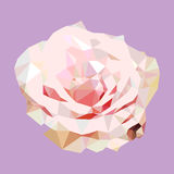 Polygonal pink rose. poly low geometric triangle flower vector Royalty Free Stock Image
