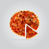 Polygonal pizzaillustration Royaltyfri Bild