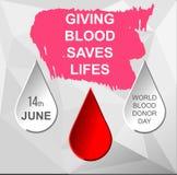 Polygonal postcard world blood donor day Royalty Free Illustration