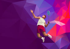 Polygonal professional badminton player on Stock Photos