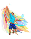 Polygonal professional badminton player on Royalty Free Stock Photography