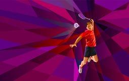 Polygonal professional badminton player on Stock Photography