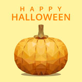Polygonal pumpkin, happy halloween, polygon fruit isolated vecto Stock Photo
