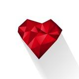 Polygonal röd hjärta för vektorillustration Royaltyfria Bilder