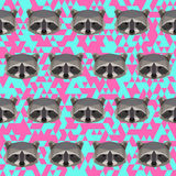 Polygonal raccoon pattern background Royalty Free Stock Images