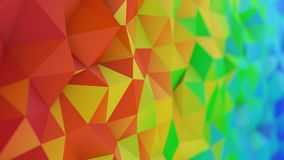 Polygonal rainbow gradient surface abstract 3D rendering Royalty Free Stock Photo