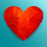 Polygonal röd hjärta också vektor för coreldrawillustration Arkivbild