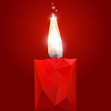 Polygonal red burning candle. Vector illustration red polygonal burning candle on a dark red background Stock Images