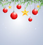 Polygonal red Christmas ball and star hanging on winter background with fir-tree branches Stock Photo